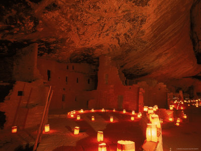 Luminarias Light up the Anasazi Spruce Tree House Dwelling Photographic Print