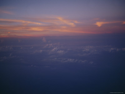 Sunset and Sky Above the North Pacific Ocean Seen from an Aircraft Photographic Print