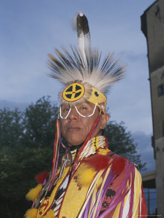 A Portrait of a Dakota Sioux Indian in Traditional Dress Photographic Print by Taylor S. Kennedy