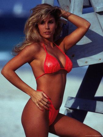 Woman in Bikini Standing Near Lifeguard Stand Photographic Print by Scott Shapiro