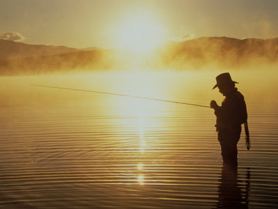 Silhouetted Fly Fisherman, Dillon Reservoir Photographic Print by Bob Winsett