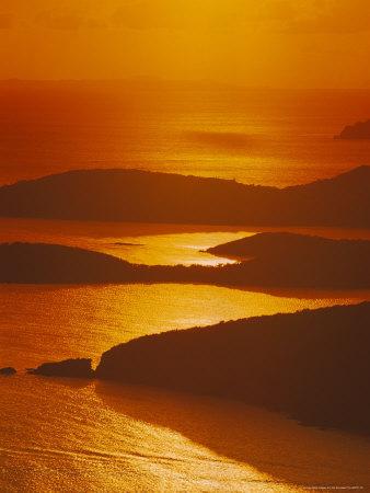Sun Setting Over Harbor, St. Thomas, VI Photographic Print by Jim Schwabel