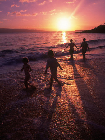 Family Walking on Beach at Dusk, HI Photographic Print by Mark Gibson
