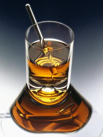 Glass of Liquor with Glass Stick Photographic Print by  ATU Studios