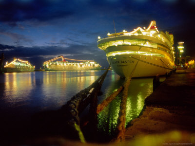 Cruise Ships in Dock Lit up at Night, Barbados Photographic Print by Mike England