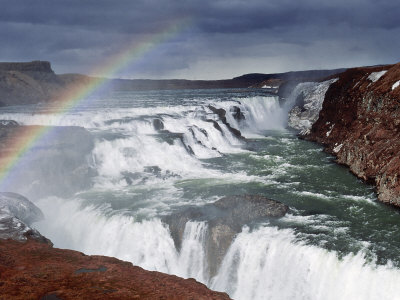 Gullfoss, Glacial River Hvita Drops Over Gullfoss, Iceland Photographic Print by Richard Packwood