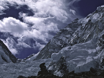View of Lhotseand Billowing Clouds, Khumbu Ice Fall Premium Poster