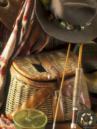 Close-up of Fishing Equipment And a Hat Photographic Print