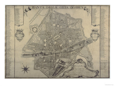 Map of Florence, 1730 Giclee Print by  Papini