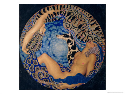 Artemis and Endymion, 1917 Giclée-tryk
