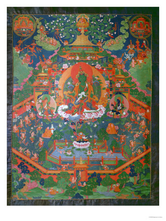 Thangka Depicting Green Tara Giclee Print