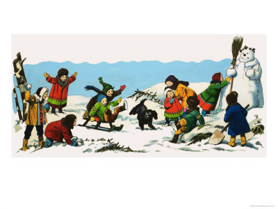 Children Playing in the Snow Giclee Print