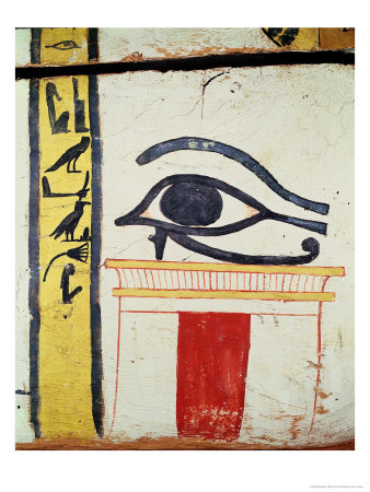 Wedjat Eye, Detail from the Sarcophagus Cover of the Lady of Madja, New Kingdom, c.1450 BC Giclee Print by  Egyptian 18th Dynasty