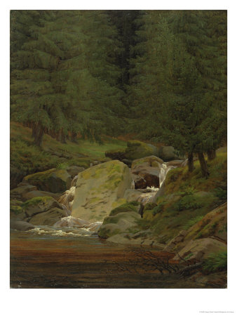 The Evergreens by the Waterfall Giclee Print