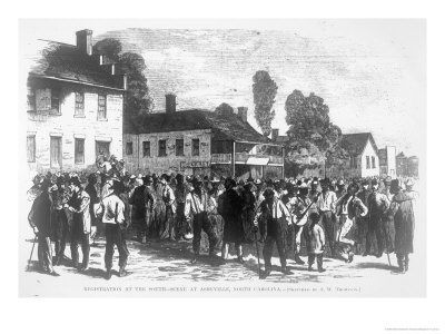 Registration in the South, Scene at Asheville, North Carolina, from Harper's Weekly', 1867 Giclee Print