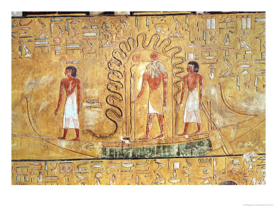 The Sun God Ra in His Solar Barque, Protected by the Coils of a ...