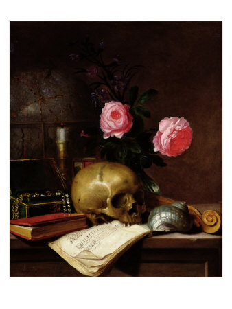 Still Life with a Skull Giclee Print by E. Letellier