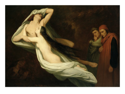 Francesca and Paolo, 1854 Giclee Print by Ary Scheffer
