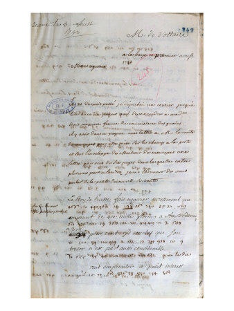 Letter Written by Voltaire to the French Foreign Minister in Paris, 1st August 1743 Giclée-Druck von Francois Marie Arouet Voltaire