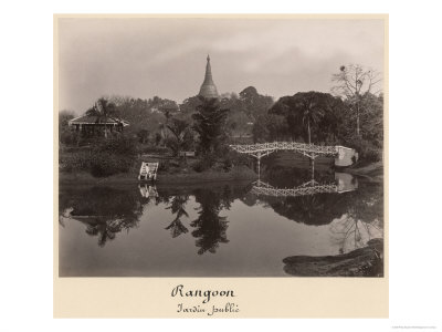 Island Pavilion in the Cantanement Garden, Rangoon, Burma, Late 19th Century Giclee Print by Philip Adolphe Klier