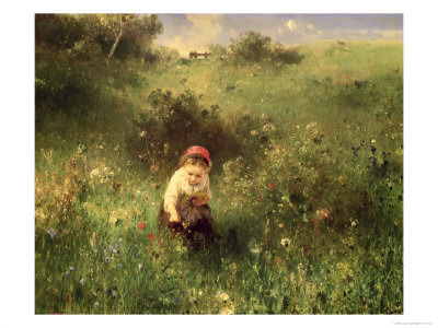 Young Girl in a Field reproduction procd gicle