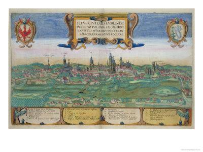 Map of Lublin, from Civitates Orbis Terrarum by Georg Braun Giclee Print by Joris Hoefnagel