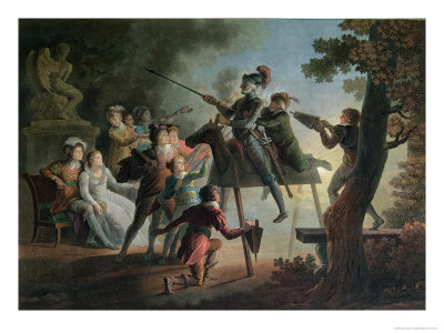 Don Quixote and Sancho Panza on a Wooden Horse Giclee Print by Jean-frederic Schall