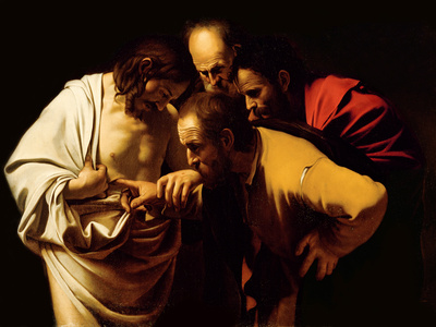 The Incredulity of St. Thomas, 1602-03 Giclée-Druck
