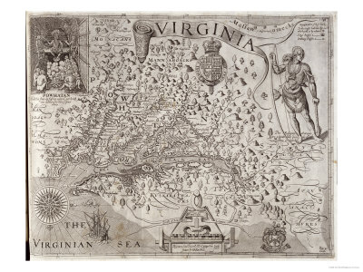 Map of Virginia, Discovered and Described by Captain John Smith, 1606, Engraved by William Hole Giclee Print by John Smith