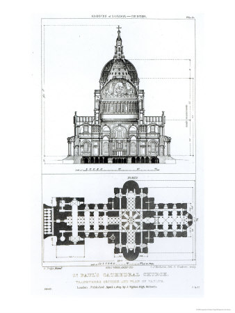 St. Paul's Cathedral and Plan of the Vaults, Engraved by c. J. Mathews and G. Gladwin, Pub.1823 Giclee Print by Augustus Charles Pugin