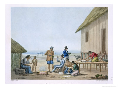 Domestic Occupations, Agagna, Guam, Philippines, from Voyage Autour du Monde Giclee Print by Jacques Etienne Victor Arago