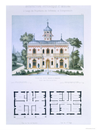 Small Country House Near Paris, Engraved by Walter, Plate 5, Architecture Pittoresque et Moderne Giclee Print by Andre Marty