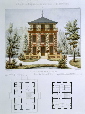 Small Country House Near Paris, Engraved by Walter, Plate 12, Architecture Pittoresque et Moderne Giclee Print by Andre Marty