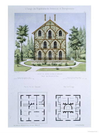 Small Country House Near Paris, Engraved by Walter, Plate 9, Architecture Pittoresque et Moderne Giclee Print by Andre Marty