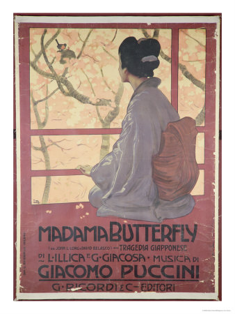 Frontispiece of the Score Sheet For Madame Butterfly by Giacomo Puccini reproduction procédé giclée