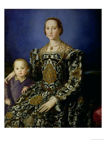 Portrait of Eleanor of Toledo and Her Son, Giovanni de Medici, c.1544-45 Giclée-tryk af Agnolo Bronzino