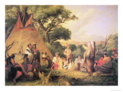 Sioux Indian Council, 1852 Giclee Print