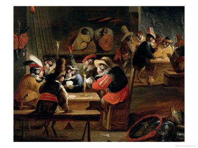 Monkeys in a Tavern, Detail of the Card Game Giclee Print by Ferdinand van Kessel