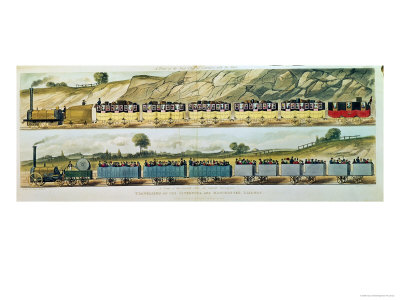 Travelling on Liverpool and Manchester Railway, c.1831 Giclee Print by Isaac Shaw