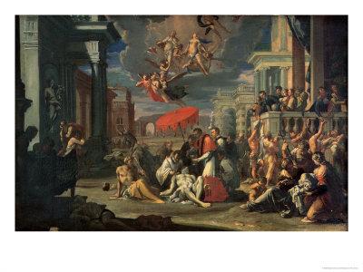 St. Charles Borromeo Administering the Sacrament to Plague Victims in 1576 Giclee Print by Sigismondo Caula