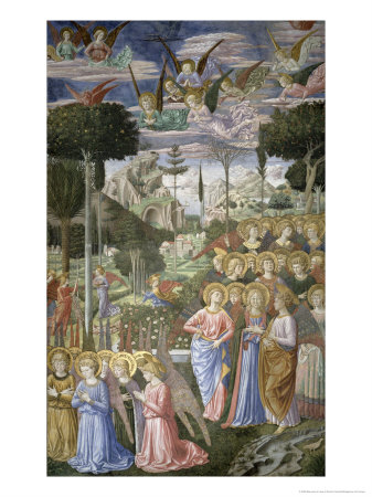 Angels in a Heavenly Landscape, Right Hand Wall of Apse, Journey of the Magi Cycle, Chapel, c.1460 Giclee Print by Benozzo di Lese di Sandro Gozzoli