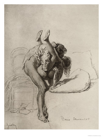 Couple Having Sex, Plate 35 of Liebe Giclee Print by Mihaly von Zichy