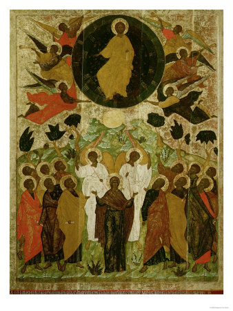 The Ascension of Our Lord, Russian Icon from the Malo-Kirillov Monastery, Novgorod School, 1543 Giclee Print