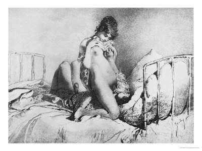 Couple Engaged in Foreplay, Plate 6 from Liebe Giclee Print by Mihaly von Zichy