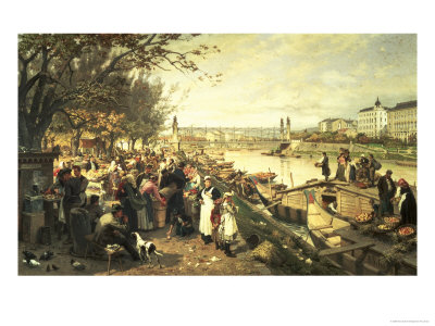Fruit Market in Schazel, Near the Maria Theresa Bridge, Vienna, 1895 Giclee Print by Alois Schonn