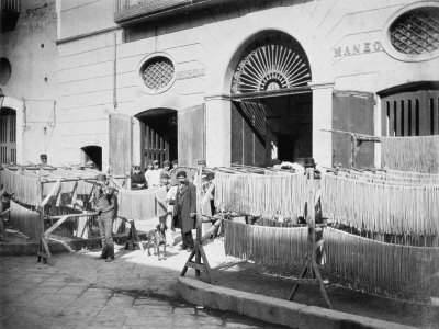 Pasta Drying in the Streets, Naples, 1897 Photographic Print