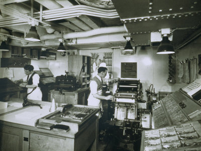 View of the Printing Press Aboard the Ivernia Photographic Print