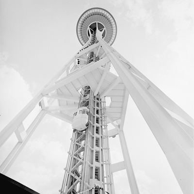 A Skyward View of the Space Needle Photographic Print