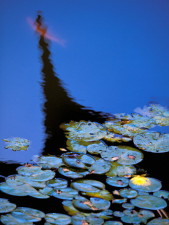 Lily Pond and Temple Reflection in Humble Administrators Garden, Suzhou, Jiangsu, China Photographic Print by Walter Bibikow