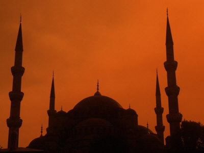 Blue Mosque at Sunset, Istanbul, Turkey Fotografie-Druck